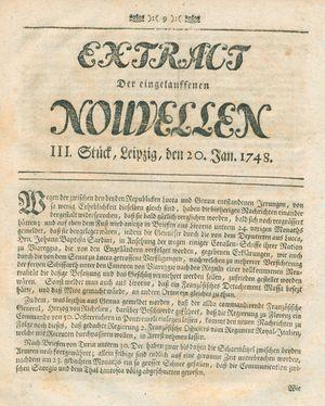 Extract der eingelauffenen Nouvellen vom 20.01.1748