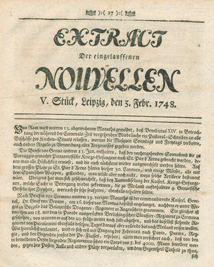 Extract der eingelauffenen Nouvellen vom 03.02.1748