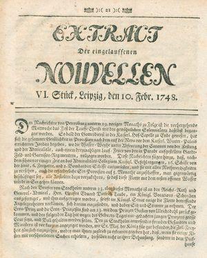 Extract der eingelauffenen Nouvellen vom 10.02.1748