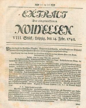 Extract der eingelauffenen Nouvellen vom 24.02.1748