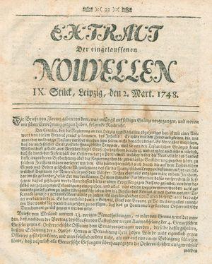 Extract der eingelauffenen Nouvellen vom 02.03.1748