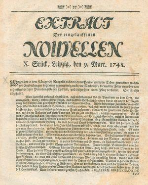 Extract der eingelauffenen Nouvellen vom 09.03.1748