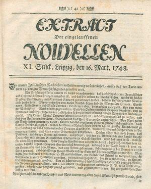 Extract der eingelauffenen Nouvellen vom 16.03.1748