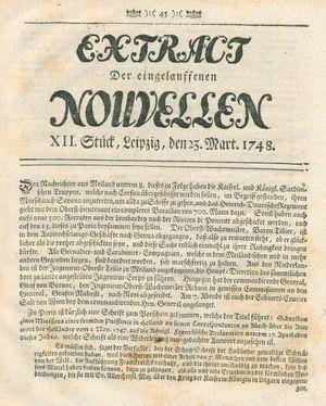 Extract der eingelauffenen Nouvellen vom 23.03.1748