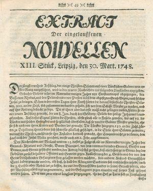 Extract der eingelauffenen Nouvellen vom 30.03.1748