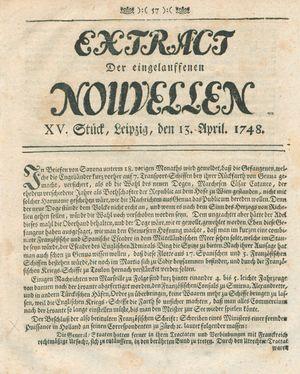 Extract der eingelauffenen Nouvellen vom 13.04.1748