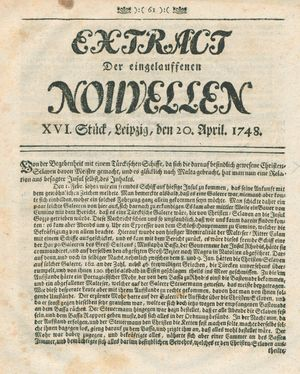 Extract der eingelauffenen Nouvellen on Apr 20, 1748