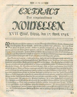 Extract der eingelauffenen Nouvellen vom 27.04.1748