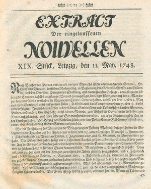 Extract der eingelauffenen Nouvellen vom 11.05.1748