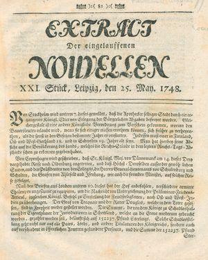 Extract der eingelauffenen Nouvellen vom 25.05.1748