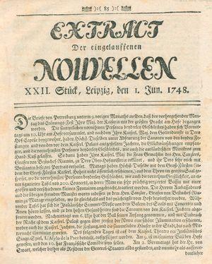 Extract der eingelauffenen Nouvellen vom 01.06.1748
