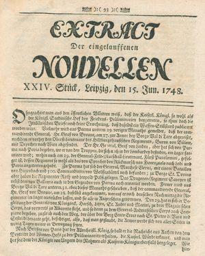 Extract der eingelauffenen Nouvellen vom 15.06.1748