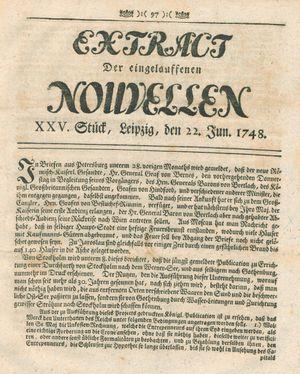Extract der eingelauffenen Nouvellen vom 22.06.1748