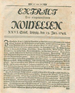 Extract der eingelauffenen Nouvellen on Jun 29, 1748