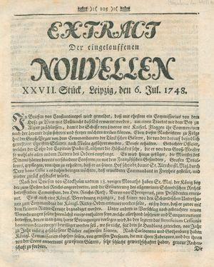 Extract der eingelauffenen Nouvellen vom 06.07.1748