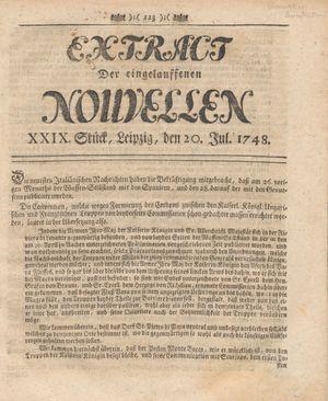 Extract der eingelauffenen Nouvellen vom 20.07.1748