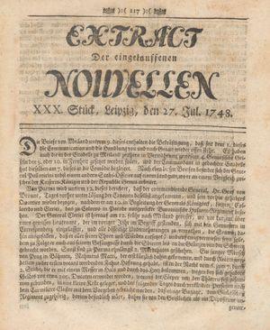 Extract der eingelauffenen Nouvellen vom 27.07.1748