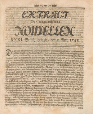 Extract der eingelauffenen Nouvellen vom 03.08.1748