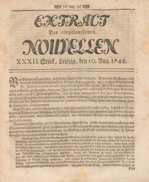 Extract der eingelauffenen Nouvellen vom 10.08.1748