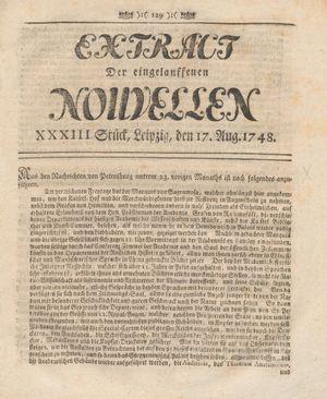 Extract der eingelauffenen Nouvellen on Aug 17, 1748