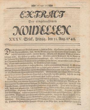 Extract der eingelauffenen Nouvellen vom 31.08.1748