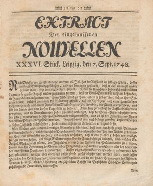 Extract der eingelauffenen Nouvellen vom 07.09.1748