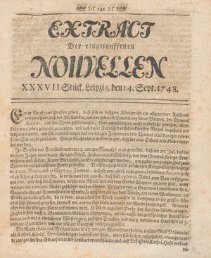 Extract der eingelauffenen Nouvellen vom 14.09.1748