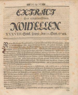 Extract der eingelauffenen Nouvellen vom 21.09.1748