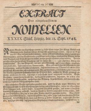 Extract der eingelauffenen Nouvellen vom 28.09.1748