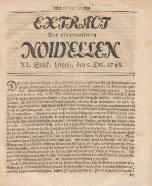 Extract der eingelauffenen Nouvellen vom 05.10.1748