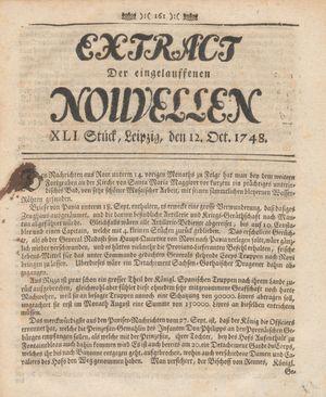 Extract der eingelauffenen Nouvellen vom 12.10.1748
