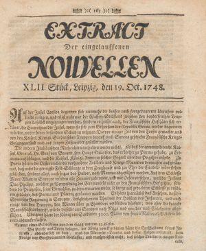 Extract der eingelauffenen Nouvellen vom 19.10.1748