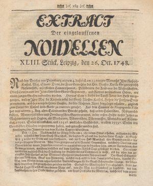 Extract der eingelauffenen Nouvellen vom 26.10.1748