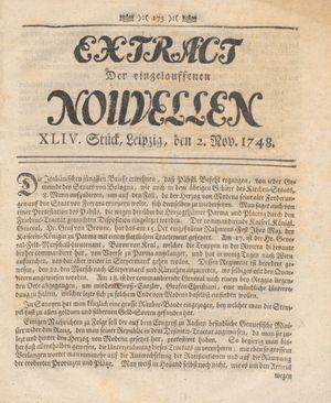 Extract der eingelauffenen Nouvellen vom 02.11.1748