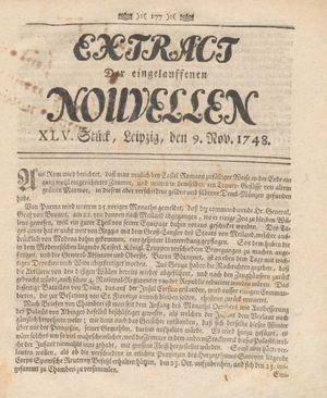 Extract der eingelauffenen Nouvellen vom 09.11.1748