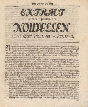Extract der eingelauffenen Nouvellen vom 16.11.1748