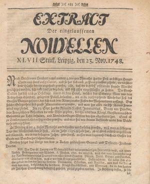 Extract der eingelauffenen Nouvellen vom 23.11.1748
