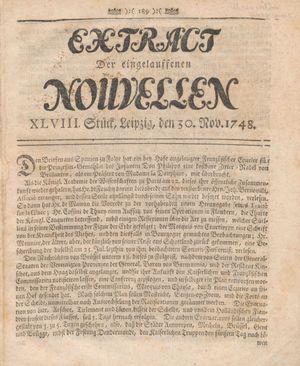 Extract der eingelauffenen Nouvellen vom 30.11.1748