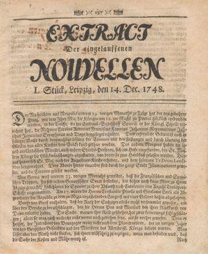 Extract der eingelauffenen Nouvellen vom 14.12.1748
