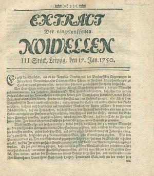 Extract der eingelauffenen Nouvellen on Jan 17, 1750