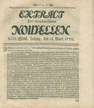 Extract der eingelauffenen Nouvellen vom 28.03.1750