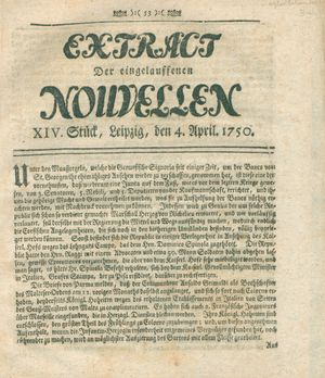 Extract der eingelauffenen Nouvellen vom 04.04.1750