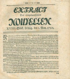 Extract der eingelauffenen Nouvellen vom 02.05.1750