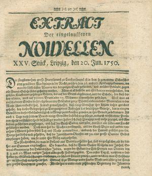 Extract der eingelauffenen Nouvellen vom 20.06.1750