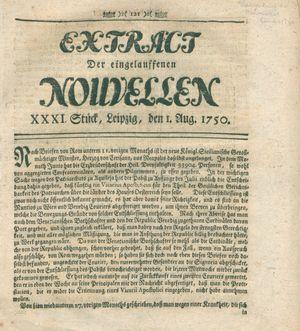 Extract der eingelauffenen Nouvellen vom 01.08.1750