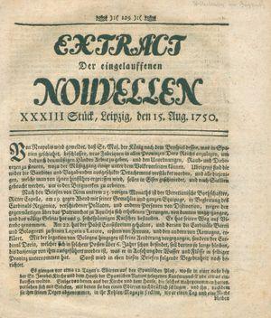 Extract der eingelauffenen Nouvellen vom 15.08.1750