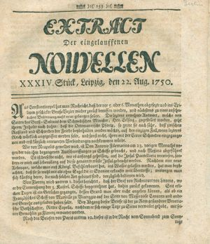Extract der eingelauffenen Nouvellen vom 22.08.1750