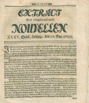 Extract der eingelauffenen Nouvellen vom 29.08.1750