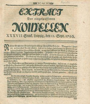 Extract der eingelauffenen Nouvellen vom 12.09.1750