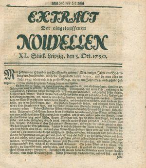 Extract der eingelauffenen Nouvellen vom 03.10.1750